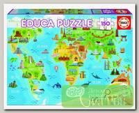 'EDUCA' Пазл №1 150 элемент. 'Достопримечательности. Карта мира'
