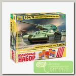 'ZVEZDA' Набор №08 для моделирования подарочный 3535П 'Советский танк Т-34/76 сборка 1942' 1/35